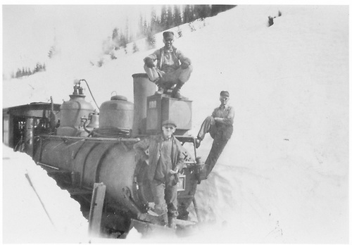 Engine crew posed on front of #209 at Crested Butte/Kebler Pass.<br /> D&amp;RGW  Crested Butte, CO  1/10/1925