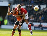 Hull City v Bristol City 2.4.16 .Sky Bet Championship ....... Hulls Robert Snodgrass with Bristols Nathan Baker