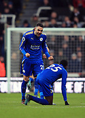 9th December 2017, St James Park, Newcastle upon Tyne, England; EPL Premier League football, Newcastle United versus Leicester City; Vicente Iborra celebrates with Wilfred Ndidi of Leicester City after the Ayoze Pérez of Newcastle United own goal which won the match 2-3