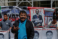 A parent of one of the missing 43 students of Ayotzinapa, Mexico, speaks to media during a press conference at the City Hall steps of New York.  04/22/2015. Eduardo MunozAlvarez/VIEWpress