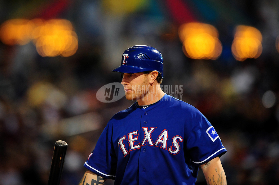 Mar. 15, 2010; Surprise, AZ, USA; Texas Rangers outfielder Josh Hamilton against the San Francisco Giants during a spring training game at Surprise Stadium. Mandatory Credit: Mark J. Rebilas-