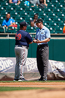 Pawtucket Red Sox manager Kevin Boles (19) talks with third base umpire Alex Tosi during a game against the Buffalo Bisons on June 28, 2018 at Coca-Cola Field in Buffalo, New York.  Buffalo defeated Pawtucket 8-1.  (Mike Janes/Four Seam Images)