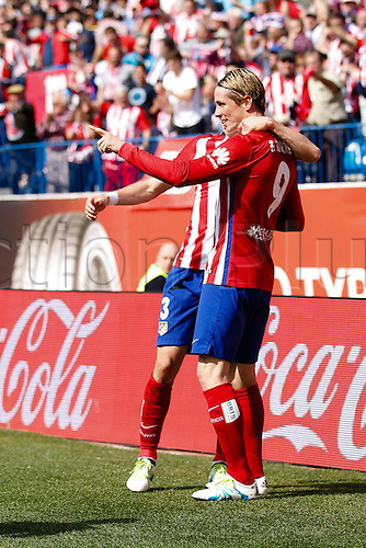 02.04.2016. Madrid, Spain.  Fernando Torres (9) Atletico de Madrid celebrates  after scoring his team´s first goal. La Liga match between Atletico de Madrid and Real Betis at the Vicente Calderon stadium in Madrid, Spain, April 2, 2016 .