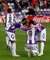 Real Valladolid´s Guerra (c) celebrates a goal with Victor Perez and Ebert during La Liga match against Sevilla. March 28, 2010. (ALTERPHOTOS/Víctor J Blanco)