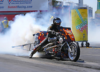 Apr 11, 2015; Las Vegas, NV, USA; NHRA top fuel Harley rider Michael Pelrine during qualifying for the Summitracing.com Nationals at The Strip at Las Vegas Motor Speedway. Mandatory Credit: Mark J. Rebilas-