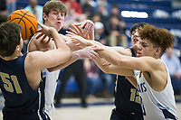 Jonas Higson (from left) of Bentonville West, Noah Livingston of Springdale Har-Ber, Riley Buccino of Bentonville West and Miles Rolfe of Springdale Har-Ber try to secure a rebound Friday, Feb. 14, 2020, at Wildcat Arena in Springdale. Go to nwaonline.com/prepbball/ to see more photos.<br /> (NWA Democrat-Gazette/Ben Goff)