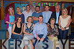Michelle Griffin, Muckross, second from left, pictured with Yvonne Buckley, Tom Griffin, Bridie Buckley, Laura Griffin, Denise Buckley, Ben Ryan, Paul Sheahan, Alan Browne, Danny Buckley and Lisa Buckley as she celebrated her 40th birthday in The Killarney Avenue on Saturday night........