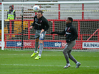 Lincoln City's Neal Eardley, left, and Tayo Edun during the pre-match warm-up<br /> <br /> Photographer Andrew Vaughan/CameraSport<br /> <br /> The EFL Sky Bet League One - Accrington Stanley v Lincoln City - Saturday 15th February 2020 - Crown Ground - Accrington<br /> <br /> World Copyright © 2020 CameraSport. All rights reserved. 43 Linden Ave. Countesthorpe. Leicester. England. LE8 5PG - Tel: +44 (0) 116 277 4147 - admin@camerasport.com - www.camerasport.com