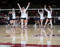 STANFORD, CA - December 1, 2018: Jenna Gray, Audriana Fitzmorris, Kathryn Plummer, Meghan McClure, Morgan Hentz, Holly Campbell at Maples Pavilion. The Stanford Cardinal defeated Loyola Marymount 25-20, 25-15, 25-17 in the second round of the NCAA tournament.