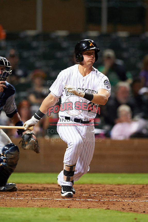 Salt River Rafters Ryan McMahon (25), of the Colorado Rockies organization, during a game against the Peoria Javelinas on October 11, 2016 at Salt River Fields at Talking Stick in Scottsdale, Arizona.  The game ended in a 7-7 tie after eleven innings.  (Mike Janes/Four Seam Images)