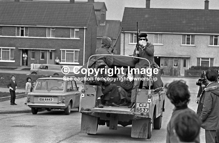 Official IRA mobile patrol in Turf Lodge housing estate, Belfast, N Ireland, UK. The patrol, was a show of strength  and reaction to the death of local IRA leader, Joe McCann, the previous day in the Markets Area in a confrontation with soldiers and police. 197204170173a..Copyright Image from Victor Patterson, 54 Dorchester Park, Belfast, UK, BT9 6RJ..Tel: +44 28 9066 1296.Mob: +44 7802 353836.Voicemail +44 20 8816 7153.Skype: victorpattersonbelfast.Email: victorpatterson@mac.com.Email: victorpatterson@ireland.com (back-up)..IMPORTANT: If you wish to use this image or any other of my images please go to www.victorpatterson.com and click on the Terms & Conditions. Then contact me by email or phone with the reference number(s) of the image(s) concerned.