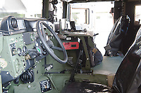 Interior of a Hummer is seen during a presentation of the Coalition Support Fund for Hungary by the US military in Szolnok, Hungary on July 18, 2011. ATTILA VOLGYI