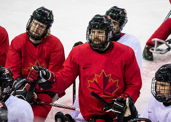 PyeongChang 8/3/2018 - Billy Bridges and Adam Dixon as Canada's sledge hockey team practices ahead of the start of competition at the Gangneung practice venue during the 2018 Winter Paralympic Games in Pyeongchang, Korea. Photo: Dave Holland/Canadian Paralympic Committee