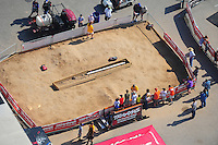 Apr. 28, 2012; Baytown, TX, USA: Aerial view of NHRA TRAXXAS display where NHRA fans can get some hands on experience during qualifying for the Spring Nationals at Royal Purple Raceway. Mandatory Credit: Mark J. Rebilas-