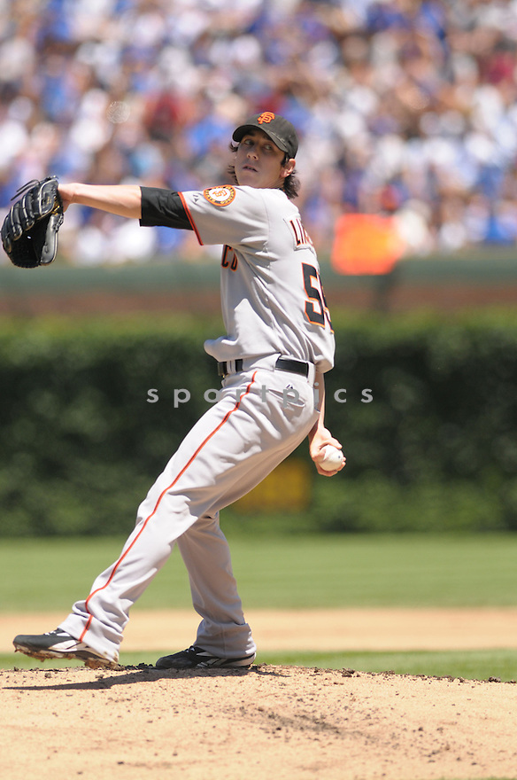 TIM LINCECUM, or the San Francisco Giants , in action during the Giants game against the Chicago Cubs  in Chicago, IL on July 13, 2008.   ..Giants win 3-1
