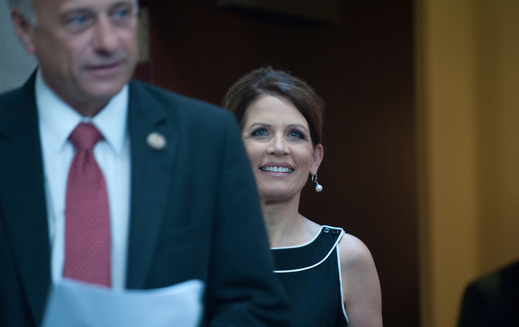 UNITED STATES - JULY 13: Steve King, R- IA., and Michele Bachmann, R-MN., during a press conference announcing the PROMISES Act, H.R. 2496 in the U.S. Capitol on July 13, 2011. (Photo By Douglas Graham/Roll Call)