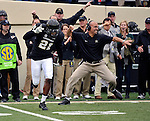 NASHVILLE, TN - NOVEMBER 16:  Head coach James Franklin of the Vanderbilt Commodores celebrates after an interception by Commodore corner back Paris Head #21 against the Kentucky Wildcats at Vanderbilt Stadium on November 16, 2013 in Nashville, Tennessee.  (Photo by Frederick Breedon/Getty Images)