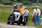June 14th 2017, Erin, Wisconsin, USA; Sergio Garcia gets a ride on a golf cart after finishing during the practice round for the 117th US Open on June 14, 2017 at Erin Hills in Erin, Wisconsin