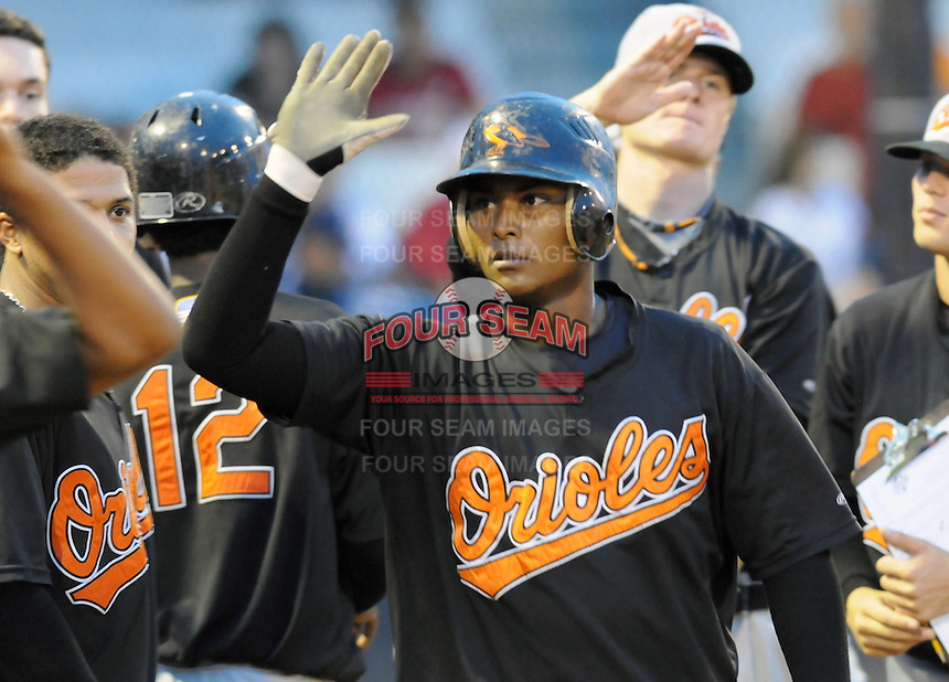 August 1, 2009: Catcher Joel Polanco (24) of the Bluefield Orioles, rookie Appalachian League affiliate of the Baltimore Orioles in a game at Howard Johnson Field in Johnson City, Tenn. Photo by: Tom Priddy/Four Seam Images