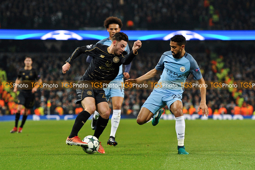 Patrick Roberts of Celtic looks to get past Gael Clichy of Manchester City during Manchester City vs Celtic, UEFA Champions League Football at the Etihad Stadium on 6th December 2016