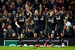 Philippe Coutinho of Liverpool celebrates scoring his sides first goal during the UEFA Europa League match at Old Trafford. Photo credit should read: Philip Oldham/Sportimage