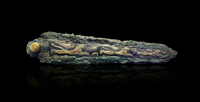 Mycenaean  Bronze sword with inlaid lions from  Grave Circle A, Mycenae, 16th cent BC. National Archaeological Museum Athens. Cat No 395. 16th Cent BC. Black Background