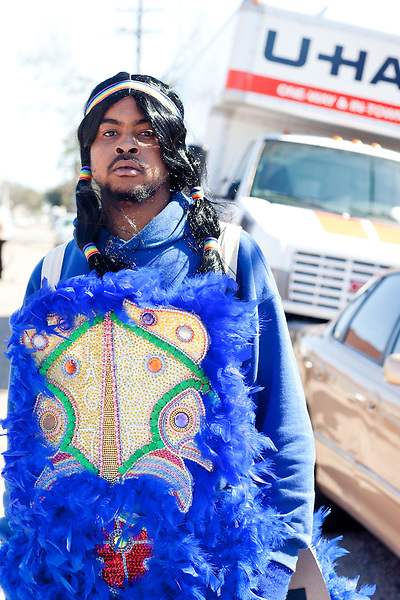 Theron Anderson of the 7th Ward Creole Hunters, in the Treme neighborhood of New Orleans on Mardi Gras day, February 16, 2010.