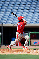 Philadelphia Phillies Freddy Francisco (6) follows through on a swing during a Florida Instructional League game against the New York Yankees on October 12, 2018 at Spectrum Field in Clearwater, Florida.  (Mike Janes/Four Seam Images)