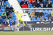 7th January 2018, Estadio Municipal de Butarque, Legales, Spain; La Liga football, Leganes versus Real Sociedad; Goalkeeper Ivan Cuellar (Leganes FC) saves from Alvaro Odriozola (Real Sociedad) during match