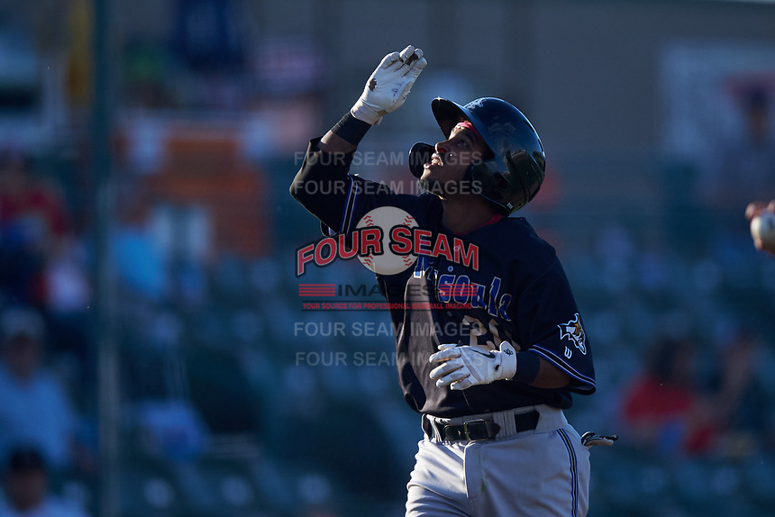 Missoula Osprey Jose Reyes (20) celebrates after hitting a home run during a Pioneer League game against the Great Falls Voyagers at Centene Stadium at Legion Park on August 19, 2019 in Great Falls, Montana. Missoula defeated Great Falls 4-1 in the first game of a doubleheader. Games were moved from Missoula after Ogren Park at Allegiance Field, the Osprey's home field, was ruled unplayable. (Zachary Lucy/Four Seam Images)