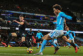 3rd December 2017, Etihad Stadium, Manchester, England; EPL Premier League football, Manchester City versus West Ham United; Leroy Sane of Manchester City crosses the ball into the box as Declan Rice of West Ham tries to block it