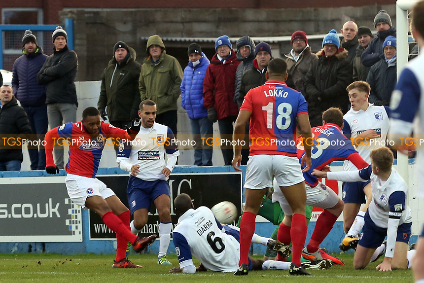 Morgan Ferrier of Dagenham shoots during Barrow vs Dagenham & Redbridge, Vanarama National League Football at the Furness Building Society Stadium on 9th December 2017