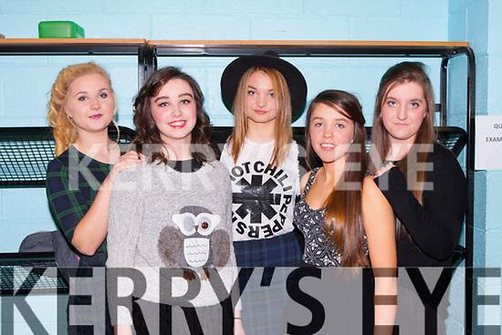 Dominika Gwizdzinska, Sarah Fleming, Olivia Gramza, Rayna Murphy and Megan Duggan who modelled the latest fashions at the Killarney Community College fashion show on Wednesday evening