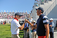Matt Kuchar (USA) makes his way to the first tee during round 4 Singles of the 2017 President's Cup, Liberty National Golf Club, Jersey City, New Jersey, USA. 10/1/2017. <br /> Picture: Golffile | Ken Murray<br /> <br /> All photo usage must carry mandatory copyright credit (&copy; Golffile | Ken Murray)