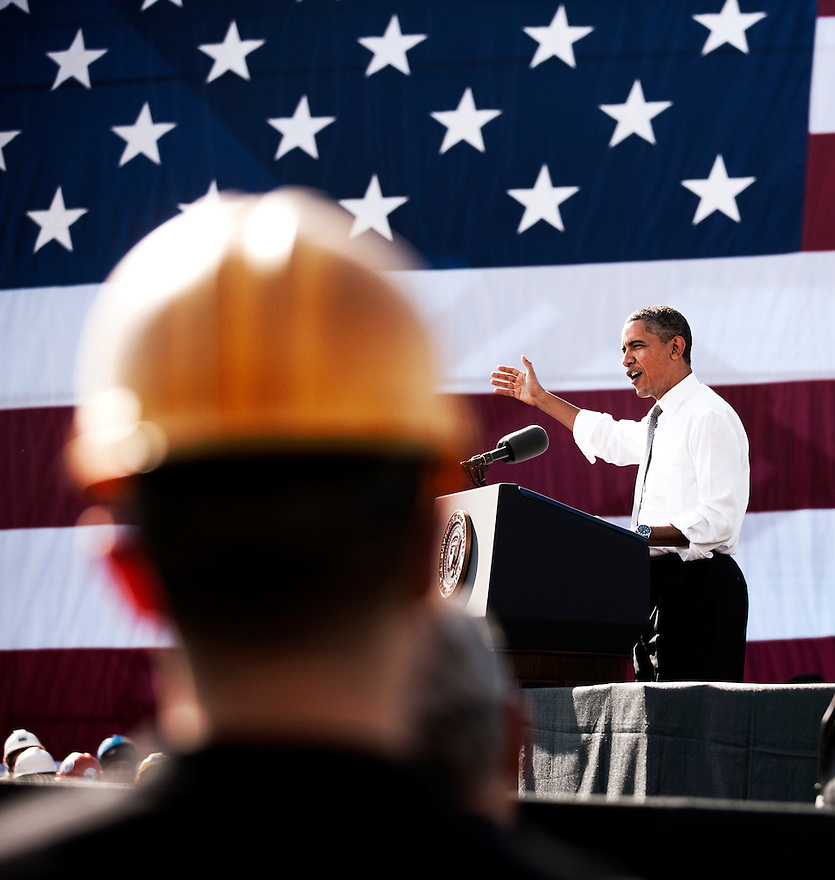 President Barack Obama speaks about jobs at Georgetown Waterfront Park in Washington. Obama is urging Congress to pass the infrastructure piece of the American Jobs Act.