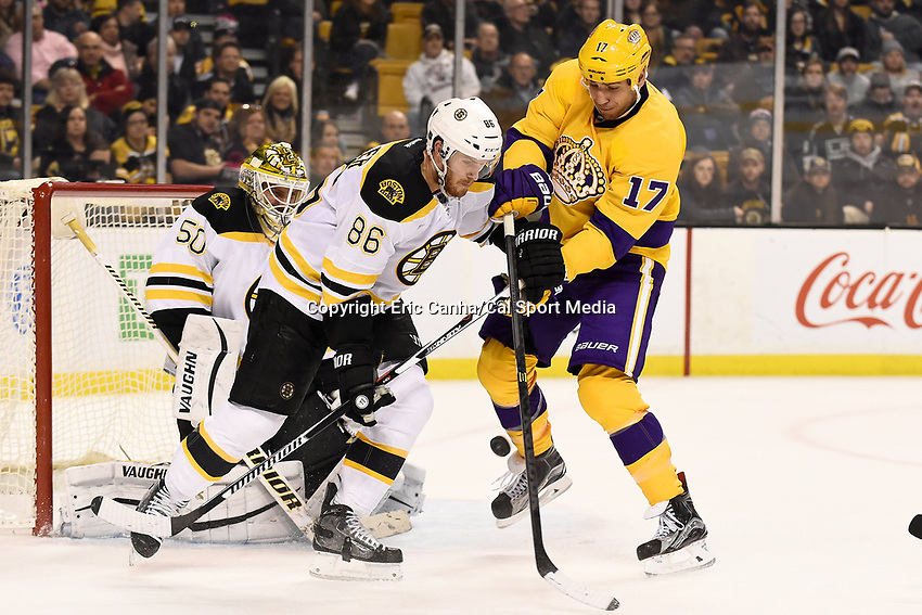 Tuesday, February 9, 2016: Los Angeles Kings left wing Milan Lucic (17) battles with Boston Bruins defenseman Kevan Miller (86) in front of goalie Jonas Gustavsson (50) during the National Hockey League game between the Los Angeles Kings and the Boston Bruins, held at TD Garden, in Boston, Massachusetts. The Kings defeat the Bruins 9-2. Eric Canha/CSM