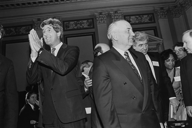 Sen. John Kerry, D-Mass., and Former President of the Soviet Union Mikhail Gorbachev at a luncheon in Cannon Caucus room  sponsored by Congressional Cleaning House of the Future (Chaired by Stephen Neal).  Gorbachev was in town on behalf of International Green Cross and T.J. Anniversary on April 15, 1993. (Photo by Maureen Keating/CQ Roll Call via Getty Images)