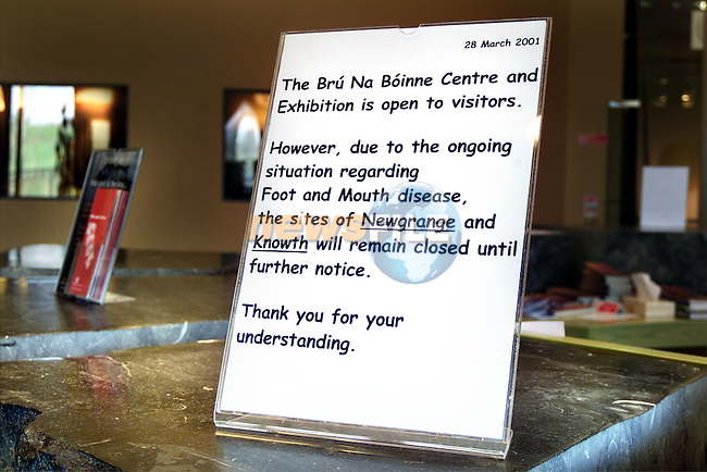 Notices inside the Newgrange Visitors Centre..Picture: Paul Mohan/Newsfile