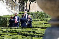 Ministers Giuseppe Provenzano, Federico d'Inca', Vincenzo Boccia and the Governor of the Bank of Italy Ignazio Visco talking in the gardens of Villa Pamphilj, where the Italian Premier convened the States General of Economy. The summit was strictly behind closed doors and the press was kept outside. Rome (Italy), June 13th 2020<br /> Samantha Zucchi Insidefoto