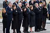 Members of the Bush family look on as the remains of President George H.W. Bush are transported from the U.S. Capitol to the National Cathedral Wednesday December 5, 2018.<br /> Credit: Sarah Silbiger / Pool via CNP