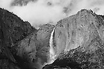 """Yosemite Falls Waterfall 5"" monochrome  Yosemite Falls Waterfall, Yosemite National Park, California. This is a monochrome photograph. I spent two weeks in the Spring of 2013 climbing up the opposite canyon's wall in order to get an angle that captured all three sections of the waterfall. I learned on the Yosemite National Park's website that no one had a photograph of the middle section of the waterfall.  Their description of the middle section is ""often ignored middle section""  All other photographers only have photographs showing an angle that has the upper and lower sections in view.  I had to climb down and return moving further up the canyon to get an angle to see directly into the middle section."