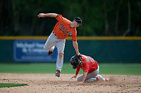 Baltimore Orioles Moises Nolasco (27) attempts to tag Cole Brannen (31) sliding into second base during a Minor League Spring Training game against the Boston Red Sox on March 20, 2019 at the Buck O'Neil Baseball Complex in Sarasota, Florida.  (Mike Janes/Four Seam Images)