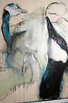 Close up of a painting of birds by artist Bill Park