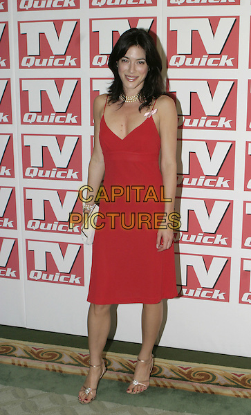 JAMIE MURRAY.TV Quick Awards 2004 At The Dorchester, London, W1.September 6th, 2004.full length, red dress, pink ribbon, spaghetti straps.www.capitalpictures.com.sales@capitalpictures.com.© Capital Pictures.