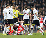 Tottenham's players surround Arsenal's Nacho Monreal after he gets caught<br /> <br /> Barclays Premier League- Tottenham Hotspurs vs Arsenal  - White Hart Lane - England - 7th February 2015 - Picture David Klein/Sportimage
