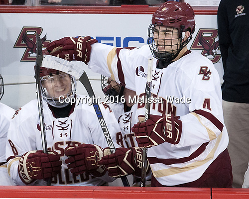 Jesper Mattila (BC - 8), Michael Kim (BC - 4) - The Boston College Eagles defeated the visiting Colorado College Tigers 4-1 on Friday, October 21, 2016, at Kelley Rink in Conte Forum in Chestnut Hill, Massachusetts.The Boston College Eagles defeated the visiting Colorado College Tiger 4-1 on Friday, October 21, 2016, at Kelley Rink in Conte Forum in Chestnut Hill, Massachusett.