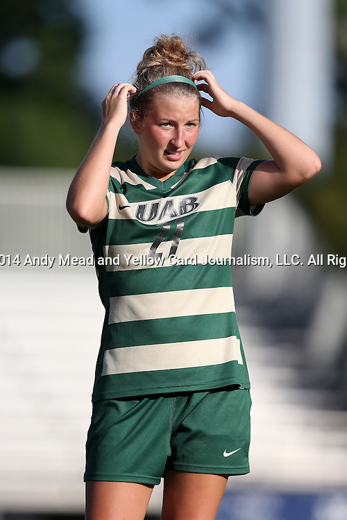 31 August 2014: UAB's Paige Hanks. The Duke University Blue Devils hosted the University of Alabama Birmingham Blazers at Koskinen Stadium in Durham, North Carolina in a 2014 NCAA Division I Women's Soccer match. Duke won the game 3-1.