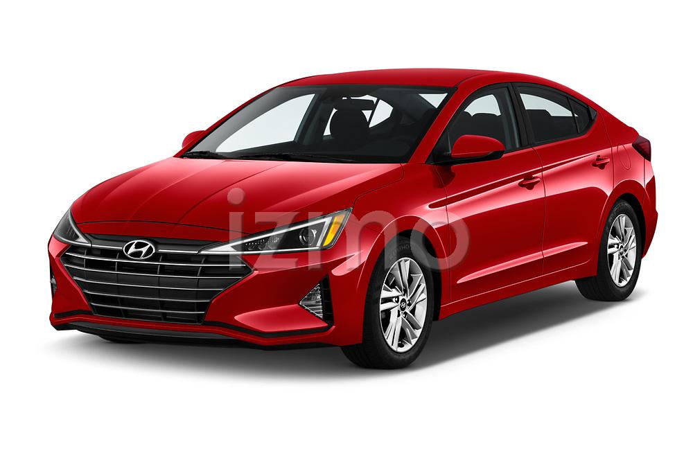 2020 Hyundai Elantra SEL 4 Door Sedan Angular Front automotive stock photos of front three quarter view