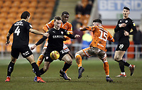 Barnsley&rsquo;s Mike-Steven B&auml;hre shields the ball from Blackpool's Donervon Daniels<br /> <br /> Photographer Rich Linley/CameraSport<br /> <br /> The EFL Sky Bet League One - Blackpool v Barnsley - Saturday 22nd December 2018 - Bloomfield Road - Blackpool<br /> <br /> World Copyright &copy; 2018 CameraSport. All rights reserved. 43 Linden Ave. Countesthorpe. Leicester. England. LE8 5PG - Tel: +44 (0) 116 277 4147 - admin@camerasport.com - www.camerasport.com