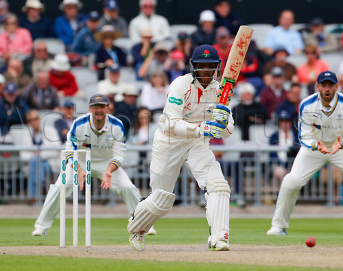 May 21st 2017, Emirates Old Trafford, Manchester, England; Specsavers County Championship Division One; Day Three; Lancashire versus Yorkshire; Shivnarine Chanderpaul of Lancashire at the crease during the afternoon session